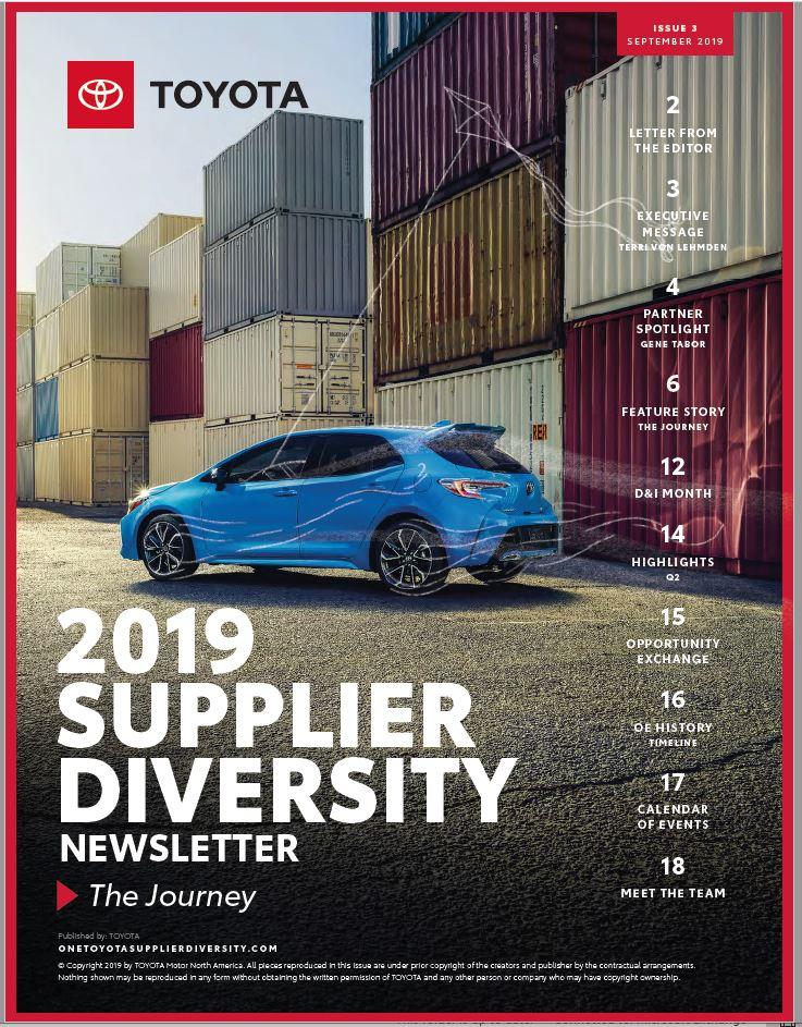 Toyota Supplier Diversity Newsletter- Sept 2019