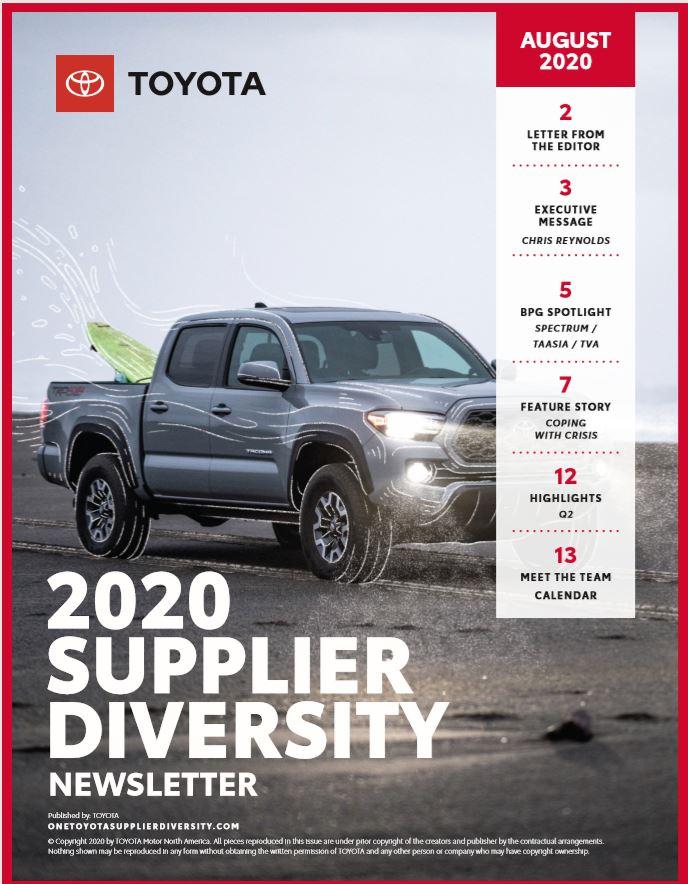 Toyota Newsletter August 2020 Supplier Diversity